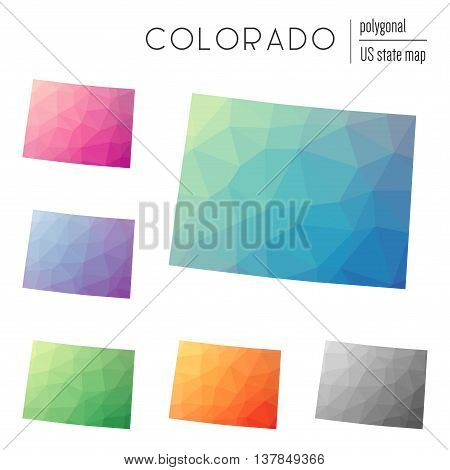Set Of Vector Polygonal Colorado Maps. Bright Gradient Map Of The Us State In Low Poly Style. Multic