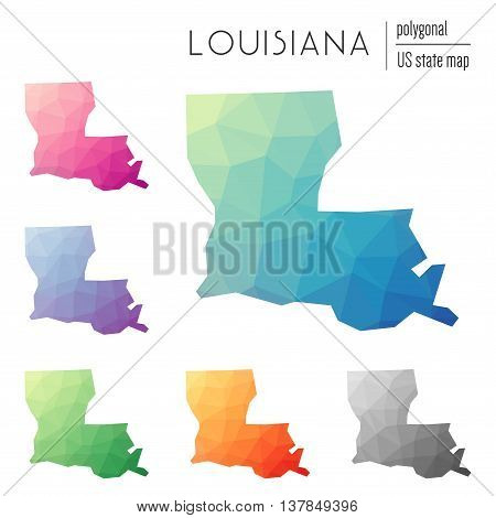 Set Of Vector Polygonal Louisiana Maps. Bright Gradient Map Of The Us State In Low Poly Style. Multi