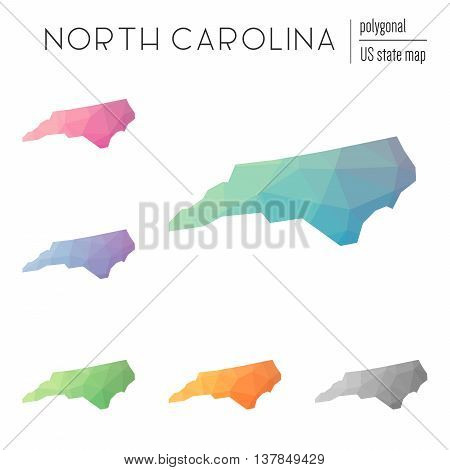 Set Of Vector Polygonal North Carolina Maps. Bright Gradient Map Of The Us State In Low Poly Style.