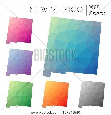 Set Of Vector Polygonal New Mexico Maps. Bright Gradient Map Of The Us State In Low Poly Style. Mult