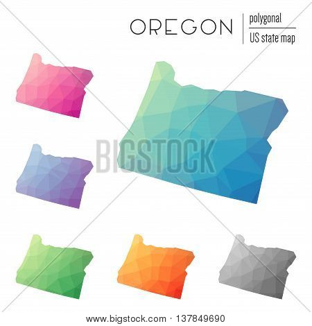 Set Of Vector Polygonal Oregon Maps. Bright Gradient Map Of The Us State In Low Poly Style. Multicol