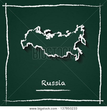 Russian Federation Outline Vector Map Hand Drawn With Chalk On A Green Blackboard. Chalkboard Scribb
