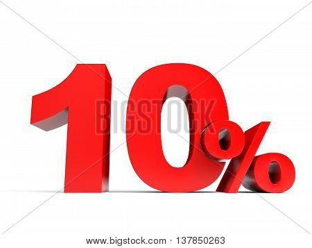 Red Ten Percent Off. Discount 10%.