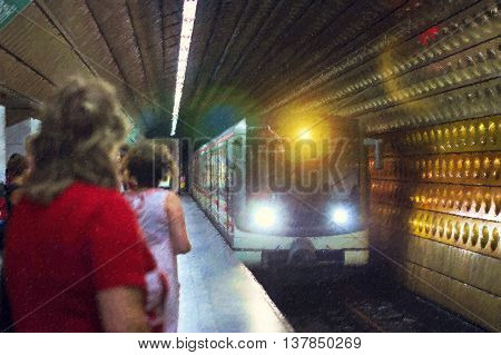 High-speed train arrives at the subway station Prague Czech Republic. Photo stylized illustration