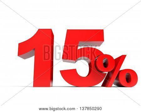 Red Fifteen Percent Off. Discount 15%.