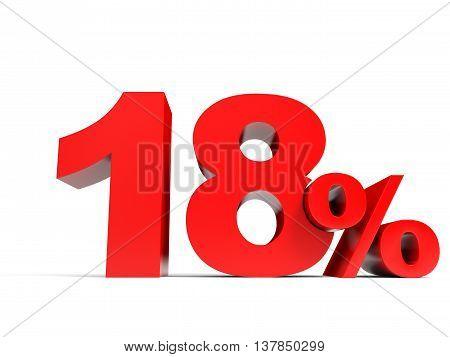 Red Eighteen Percent Off. Discount 18%.