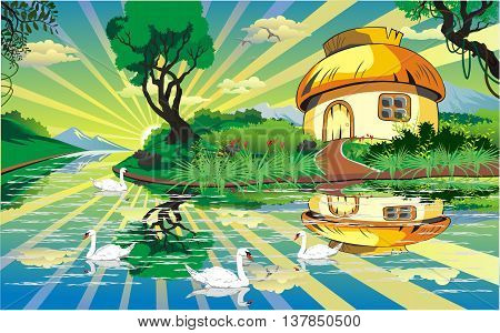 Landscape - the hut on the shore of a mountain lake. Swans on the lake. Vector illustration
