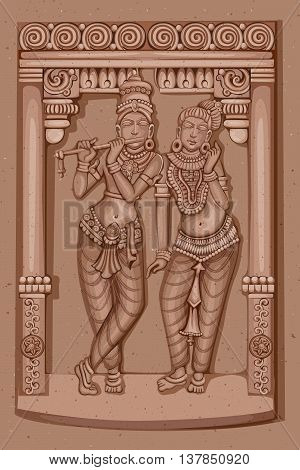 Vector design of Vintage statue of Indian God Radha and Krishna sculpture engraved on stone