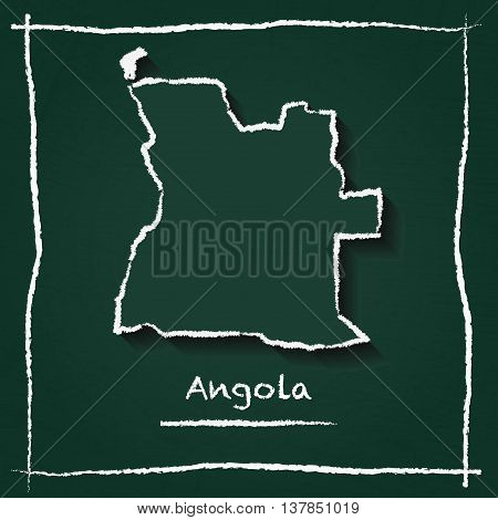 Angola Outline Vector Map Hand Drawn With Chalk On A Green Blackboard. Chalkboard Scribble In Childi