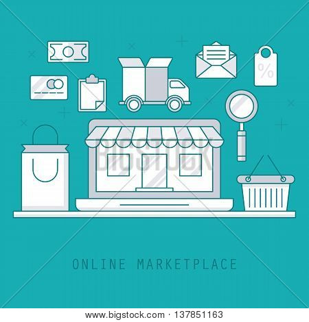 Thin line style design for online marketplace concept. Flat vector elements for web applications and banners