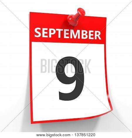 9 September Calendar Sheet With Red Pin.