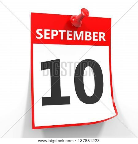 10 September Calendar Sheet With Red Pin.