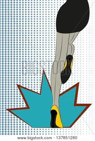 Women's legs Vector illustration Long slim female legs in stockings and yellow shoes on a polka dot background Pop art style