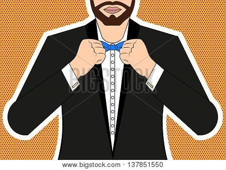 Pop art man Vector illustration Man tying a bow tie at the neck Pop art style