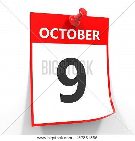 9 October Calendar Sheet With Red Pin.
