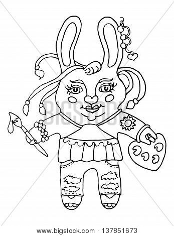 Outline drawing a cute rabbit girl artist with brush and palette