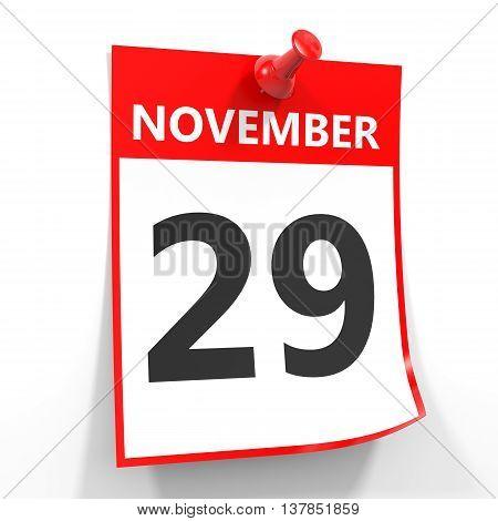 29 November Calendar Sheet With Red Pin.