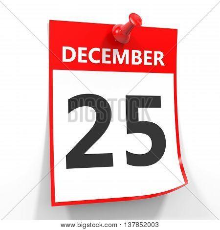 25 December Calendar Sheet With Red Pin.