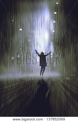 silhouette of man raising arms in the rain at night, illustration digital painting