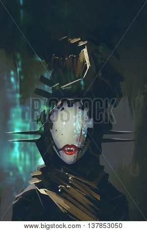 robot woman with artificial face, futuristic concept, illustration painting