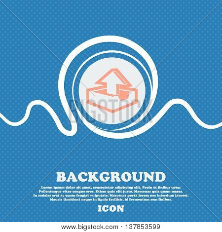 Upload Sign Icon. Blue And White Abstract Background Flecked With Space For Text And Your Design. Ve