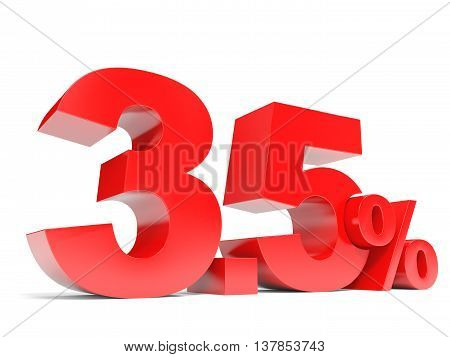 Red Three Point Five Percent Off. Discount 3.5 Percent.
