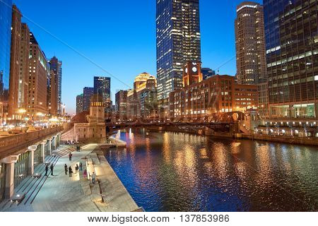 CHICAGO, IL - CIRCA MARCH, 2016: Chicago at twilight. Chicago is the third most populous city in the United States
