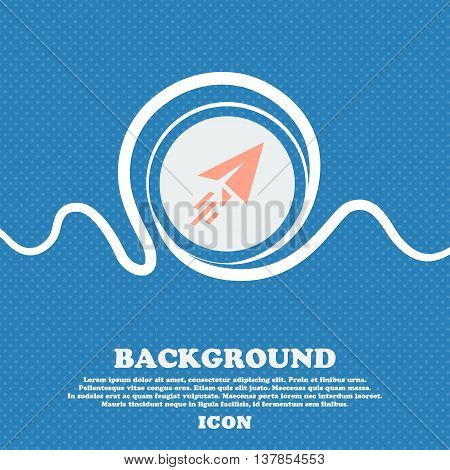 Paper Airplane Sign Icon. Blue And White Abstract Background Flecked With Space For Text And Your De