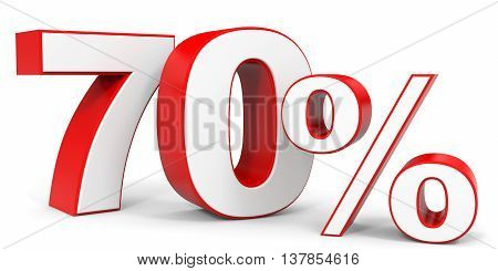 Discount 70 percent off. 3D illustration on white background.