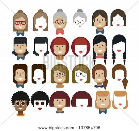 Stock vector illustration set avatars female faces, design elements, hairstyles, glasses, collar, red hair, freckles, gray, Womens hairstyles, haircut bob, bangs lips smile sunglasses flat style