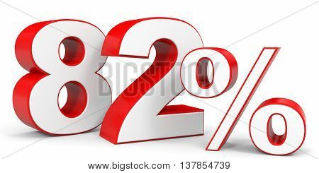 Discount 82 percent off. 3D illustration on white background.