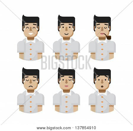 Stock vector illustration set male avatars, avatar with wide smile, male avatar slight smile, avatar with pipe in mouth, upset, avatar winks, avatars surprised, Emoji, avatar hair grizzled flat-style
