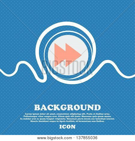 Multimedia Sign Icon. Player Navigation Symbol. Blue And White Abstract Background Flecked With Spac