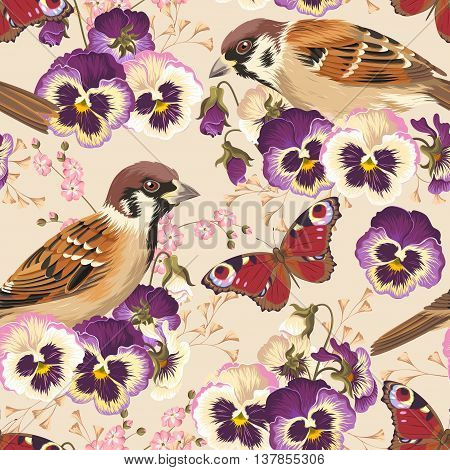 Vintage pansy and bird vector seamless background