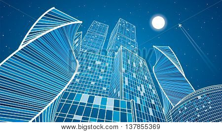 Business building, neon city, urban life, infrastructure illustration, modern architecture, skyscrapers, airplane flying, vector design art