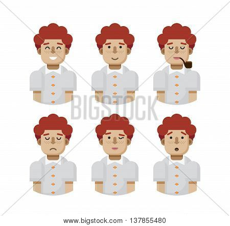 Stock vector illustration set male avatars, avatar with wide smile, male avatar slight smile, avatar with pipe mouth, upset avatar, avatar winks, avatars surprised, Emoji, redhead, freckles flat-style