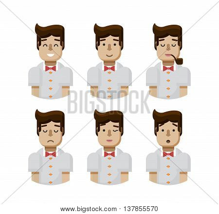 Stock vector illustration set male avatars, avatar with wide smile, male avatar with slight smile, avatar with pipe in mouth, upset avatar, avatar winks, avatars surprised, Emoji, hipster flat-style