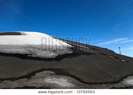 Skilift For Skiers On The Partially Snow Covered Volcano Etna, Lipari, Sicily, Italy