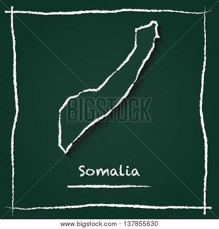 Somalia Outline Vector Map Hand Drawn With Chalk On A Green Blackboard. Chalkboard Scribble In Child
