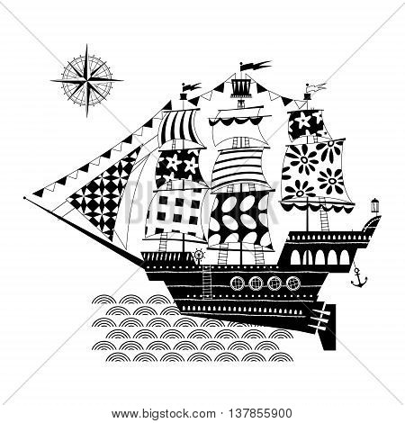 Old sailing ship. Nautical Collection. Black and white. Vector illustration