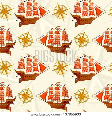 Old sailing ship. Nautical Collection. Seamless background pattern. Vector illustration