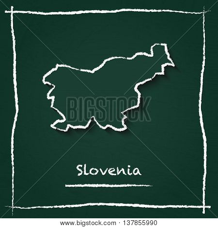 Slovenia Outline Vector Map Hand Drawn With Chalk On A Green Blackboard. Chalkboard Scribble In Chil