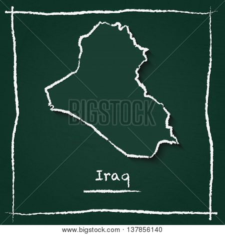 Iraq Outline Vector Map Hand Drawn With Chalk On A Green Blackboard. Chalkboard Scribble In Childish