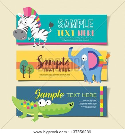 Wild animal zoo banner vector cartoon set. Jungle animals pets. Vector animals.