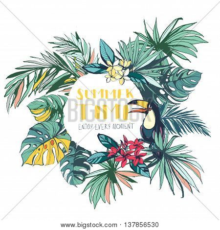 Vector illustration Tropical floral summer beach party invitation with palm leaves, tropical flowers and toucan birds.