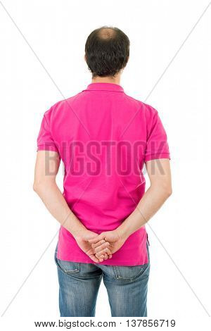 young casual man from the back, isolated