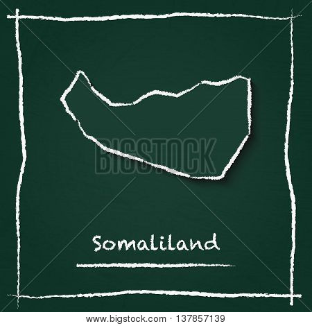 Somaliland Outline Vector Map Hand Drawn With Chalk On A Green Blackboard. Chalkboard Scribble In Ch