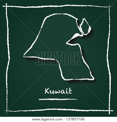 Kuwait Outline Vector Map Hand Drawn With Chalk On A Green Blackboard. Chalkboard Scribble In Childi