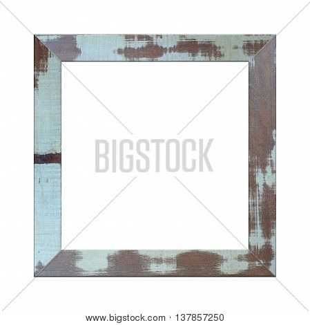 Old wooden frame isolated on white background.