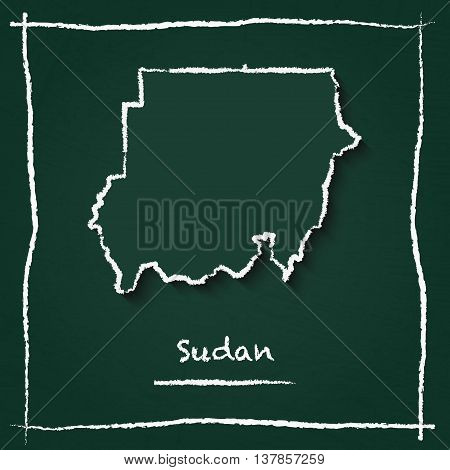 Sudan Outline Vector Map Hand Drawn With Chalk On A Green Blackboard. Chalkboard Scribble In Childis